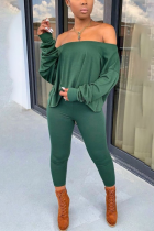 Green Casual Solid Split Joint Long Sleeve Two Pieces