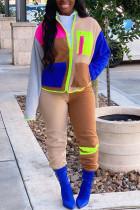 Colour Sportswear Geometric Split Joint Turndown Collar Long Sleeve Two Pieces