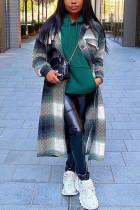 Black Green Fashion Casual Plaid Print Cardigan Turndown Collar Outerwear