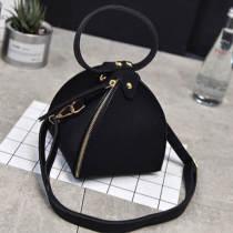 Black Fashion Solid Zipper Design Crossbody Bag