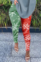 Colour Casual Print Split Joint Skinny Small Elastic Mid Waist Pencil Bottoms