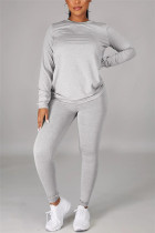 Grey Casual Solid Basic O Neck Long Sleeve Two Pieces