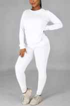 White Casual Solid Basic O Neck Long Sleeve Two Pieces