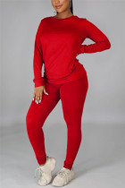 Red Casual Solid Basic O Neck Long Sleeve Two Pieces