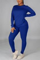 Blue Casual Solid Basic O Neck Long Sleeve Two Pieces