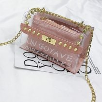 Pink Fashion Casual Letter See-through Crossbody Bag