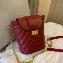 Wine Red Fashion Casual Solid Chain Strap Crossbody Bag