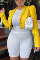 Yellow Fashion Casual Solid Cardigan Turn-back Collar Outerwear