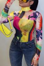Multicolor Casual Print Turtleneck Tops