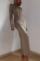 Khaki Casual Solid Make Old Split Joint Hooded Collar Pencil Skirt Dresses