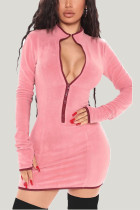 Pink Daily Solid Split Joint Zipper Collar Wrapped Skirt Dresses