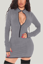 Grey Daily Solid Split Joint Zipper Collar Wrapped Skirt Dresses