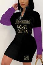 Purple Sportswear Print Turndown Collar Wrapped Skirt Dresses