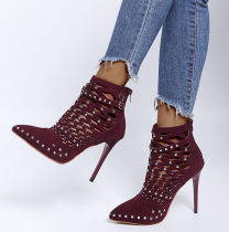 Wine Red Casual Street Rivets Hollowed Out Pointed Out Door Shoes