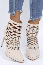 Cream White Casual Street Rivets Hollowed Out Pointed Out Door Shoes