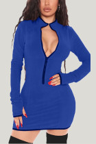 Blue Daily Solid Split Joint Zipper Collar Wrapped Skirt Dresses