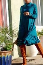 Sky Blue Street Solid Split Joint Turtleneck Dresses