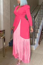 Pink Fashion Casual Solid Tassel Split Joint With Belt V Neck Long Sleeve Dress