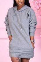 Grey Sweet Solid Split Joint Hooded Collar Pencil Skirt Dresses