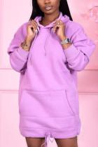 Purple Sweet Solid Split Joint Hooded Collar Pencil Skirt Dresses