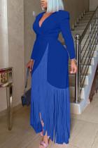 Blue Fashion Casual Solid Tassel Split Joint With Belt V Neck Long Sleeve Dress