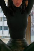 Black Fashion Solid Split Joint Turtleneck Tops