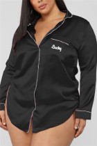 Black Fashion Sexy Solid Lapel Long Sleeve Nightdress