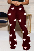 Wine Red Fashion Casual Print Pants Plus Size Trousers