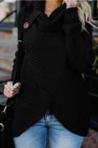 Black Fashion Casual Solid Split Joint Turtleneck Tops