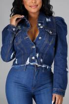 Blue Sexy Solid Buttons Turndown Collar Long Sleeve Skinny Denim