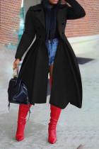 Black Elegant Solid Split Joint Turndown Collar Outerwear