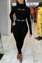 Black Sexy Letter Split Joint Turtleneck Long Sleeve Two Pieces
