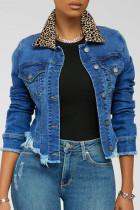 Deep Blue Fashion Casual Leopard Split Joint Turndown Collar Long Sleeve Regular Denim Coats
