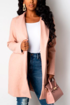 Pink Street Solid Split Joint Turndown Collar Outerwear