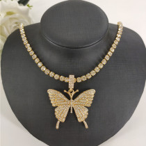 Gold Fashion Casual Butterfly Necklace Pendant
