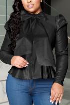 Black Sexy Solid Split Joint Turtleneck Tops