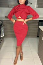 Red Sexy Solid Fold Long Sleeve Two Pieces
