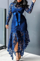 Blue Sexy Patchwork Split Joint Half A Turtleneck Irregular Dress Dresses