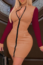 Brown Casual Solid O Neck Pencil Skirt Dresses