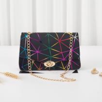 Black Fashion Casual Geometric Print Crossbody Bag