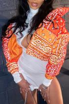 Orange Sexy Print Tie-dye Turndown Collar Outerwear