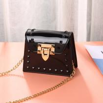 Black Fashion Casual Solid Metal Accessories Decoration Crossbody Bag