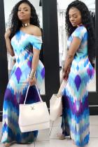 Blue Polyester Fashion Ma'am adult Casual Cap Sleeve Short Sleeves one shoulder collar Asymmetrical Floor