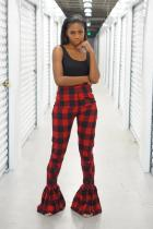 Red Polyester Elastic Fly Sleeveless High Plaid Skinny Boot Cut Pants