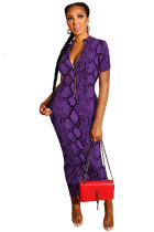 purple Polyester OL Fashion adult Cap Sleeve Short Sleeves Half-Open collar Step Skirt Ankle-Length chain P