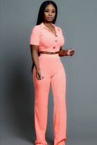 Pink Polyester Fashion adult Lightly cooked Two Piece Suits Button Solid Straight Short Sleeve  Two-piece