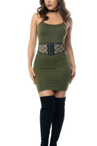 Army Green Sexy Fashion Off The Shoulder Sleeveless skirt  Club Dresses