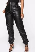 Black PU Zipper Fly Mid Zippered Solid Straight Pants  Pants