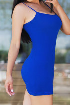 Blue Sexy Fashion Off The Shoulder Sleeveless skirt  Club Dresses