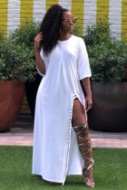 White Sexy Fashion Cap Sleeve Half Sleeves O neck Asymmetrical Ankle-Length Club Dresses